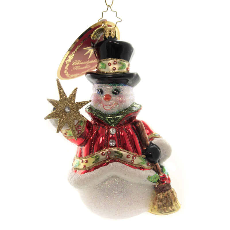 Christopher Radko STAR STRUCK SNOWMAN Glass Ornament Broom Top Hat 1019640