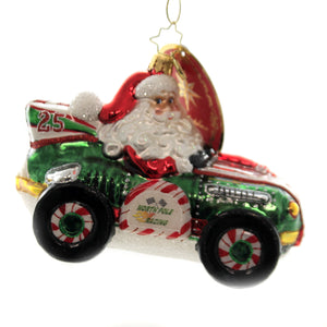 Christopher Radko BURNING RUBBER RACER Glass Ornament Hot Rod Santa 1019711