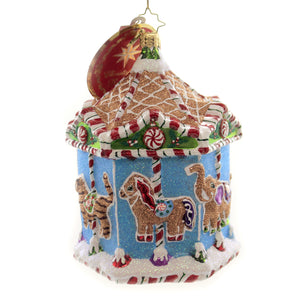 Christopher Radko GINGERBREAD MENAGERIE CAROUSEL Ornament Merry Go Round 1019815