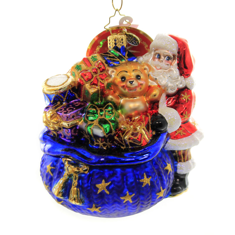 Christopher Radko SANTA'S CHRISTMAS SURPRISE Ornament Christmas Present 1019636