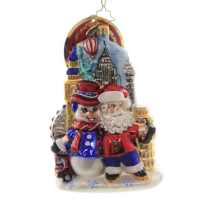 Christopher Radko AROUND THE WORLD SELFIE Ornament Santa Snowman Travel 1019931