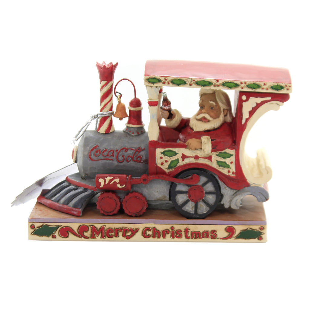 Jim Shore MERRY CHRISTMAS. Polyresin Santa Train Engine Coca Cola 6003605