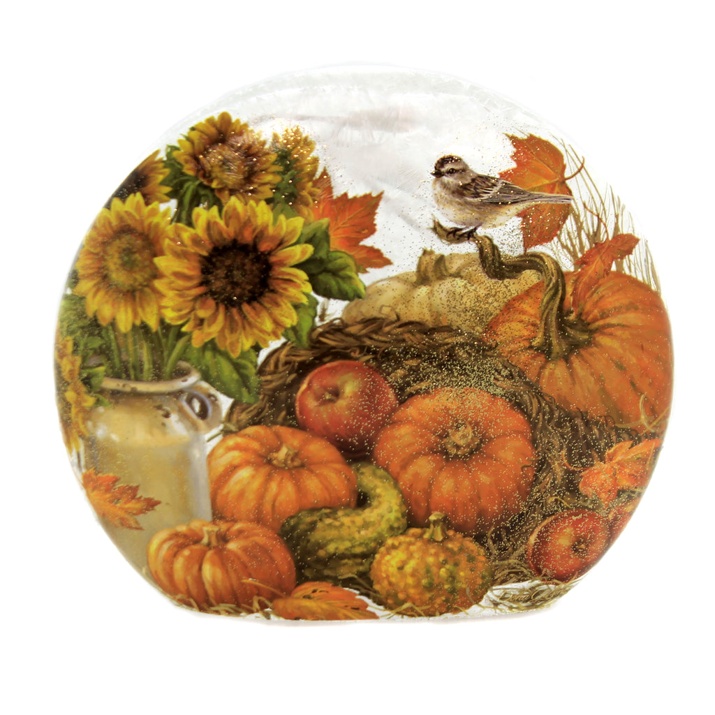 Stony Creek BOUNTIFUL HARVEST ROUND PRE-LIT VASE SMALL Fall Autumn Dgb9261