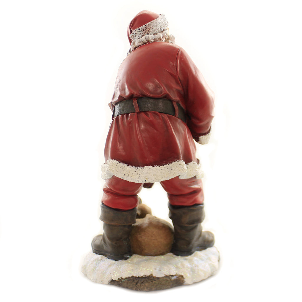 Christmas SANTA WITH SLEEPING DEER Polyresin Lantern 131527