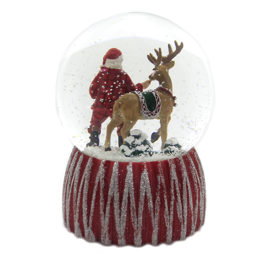 Christmas MUSICAL SANTA DOME W/ REINDEER Glass Glitterdome 132296