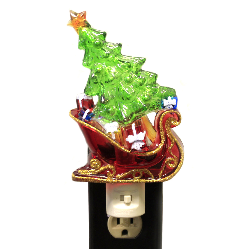 Christmas SLEIGH CHRISTMAS TREE NIGHT-LIGHT Plastic Color Changing 164085