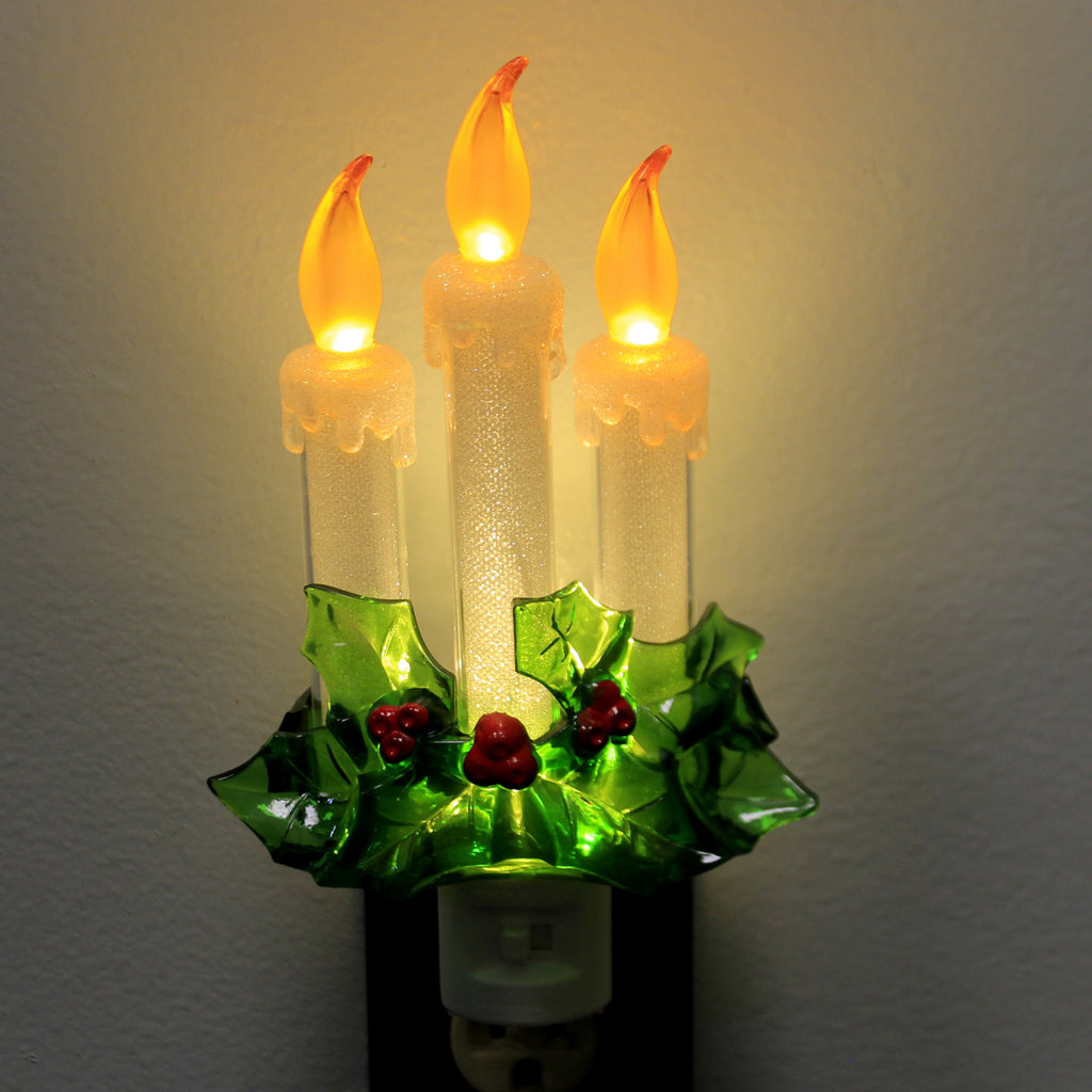 Christmas CANDLE WITH HOLLY NIGHT-LIGHT Plastic Candle Flicker 164086