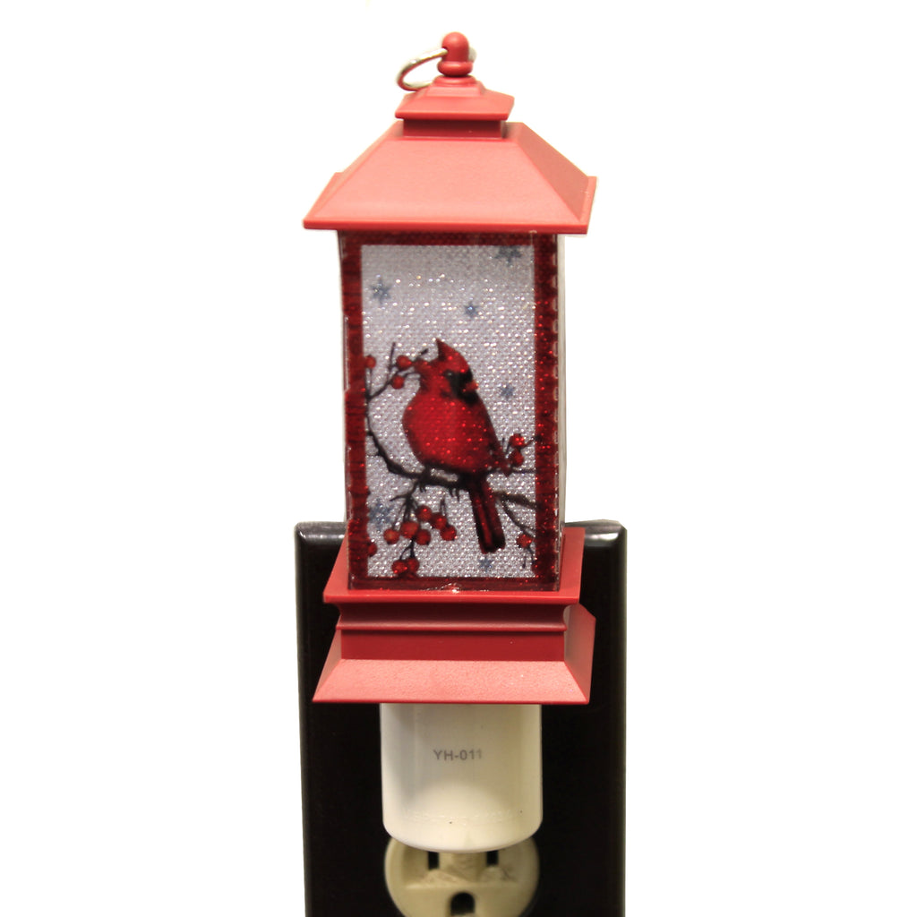 Christmas CARDINAL LANTERN NIGHT-LIGHT Plastic Plug 120V Outlet 164112