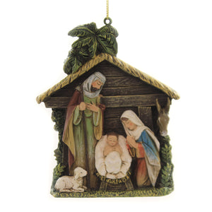 Holiday Ornaments HOLY FAMILY STABLE ORNAMENT Polyresin Joseph's Studio 34363