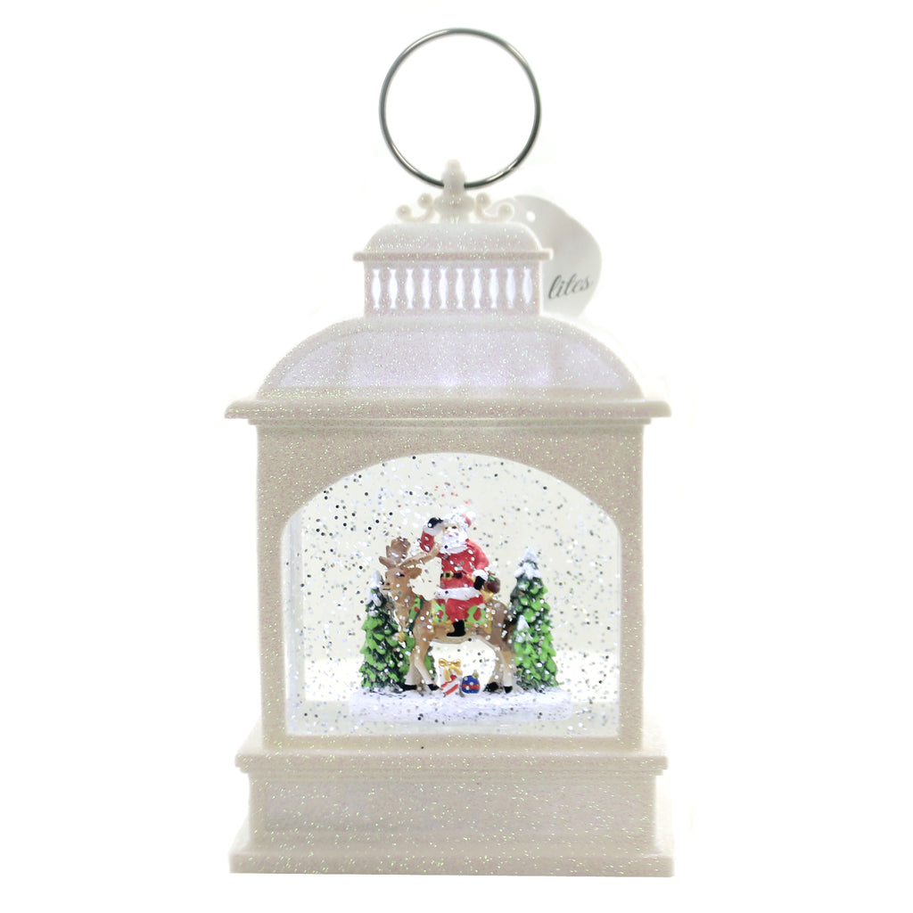 Christmas LED SANTA ON REINDEER LANTERN Metal White Swirl 132270