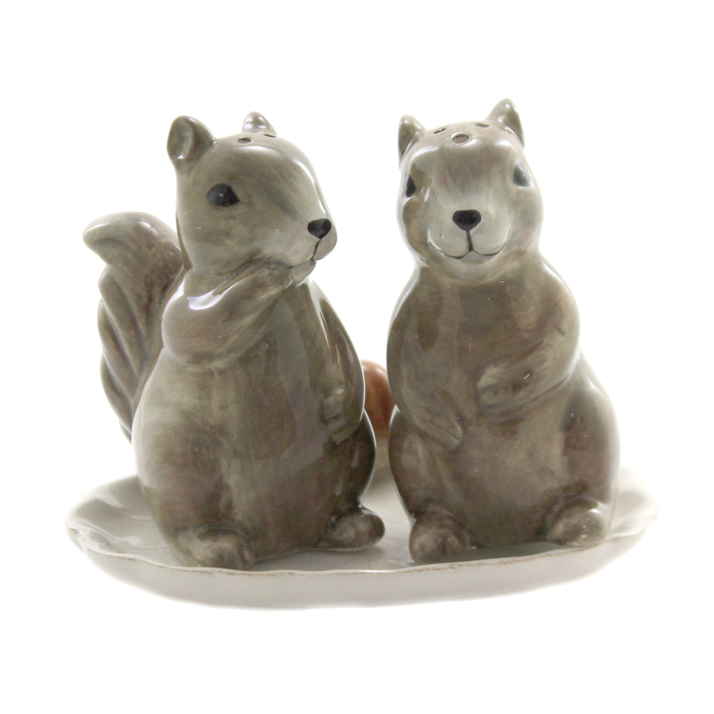 Tabletop SQUIRREL SALT & PEPPER SET OF 3 Ceramic Food Microwave Safe 130139