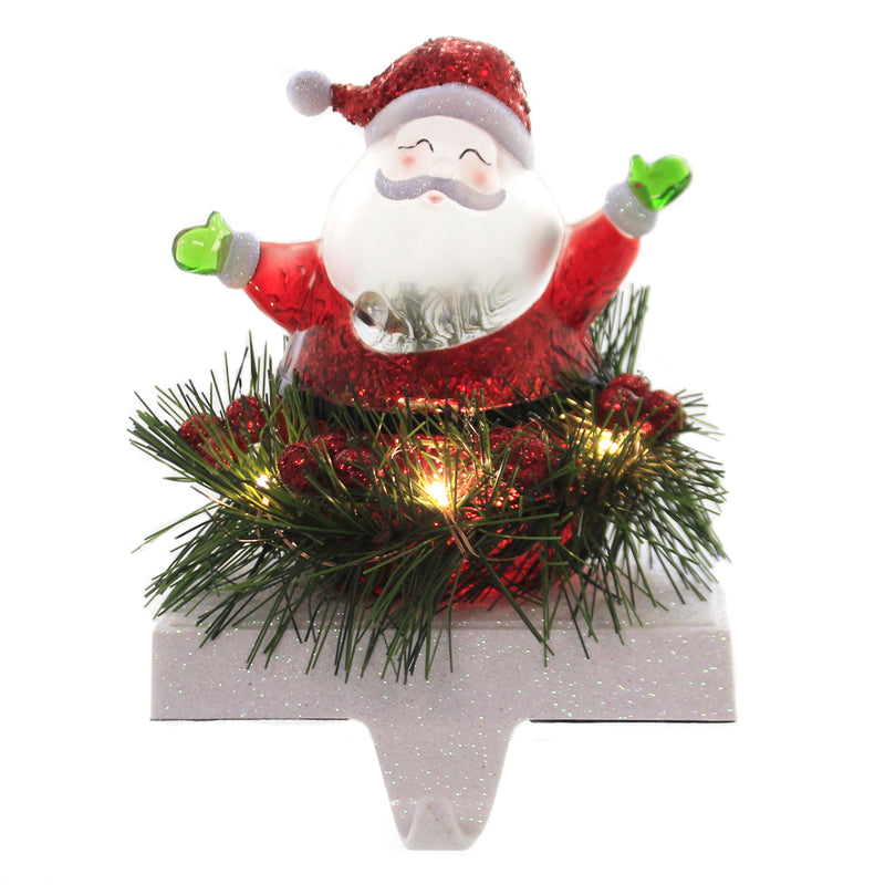 Christmas SANTA STOCKING HOLDER LED Acrylic Mantel Fireplace 31250