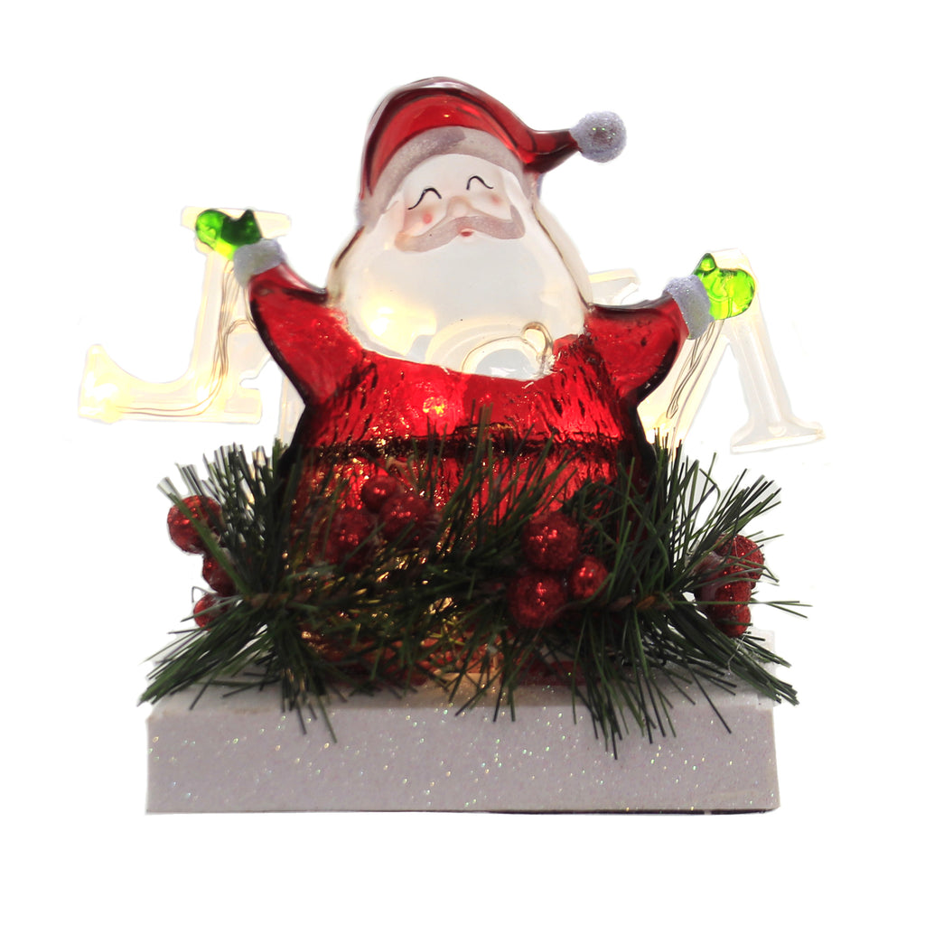 Christmas SANTA NOEL STOCKING HOLDER LED Acrylic Holly Mantel 30433