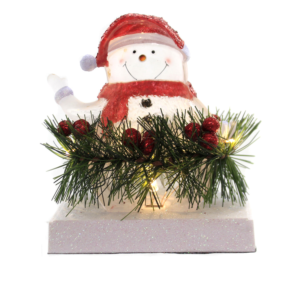 Christmas LED SNOWMAN STOCKING HOLDER Acrylic Holly Garland Glitter 31251