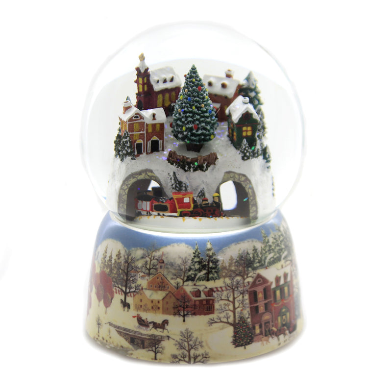 Christmas VILLAGE WITH TRAIN WATERBALL Glass Glitterdome Musical 34040