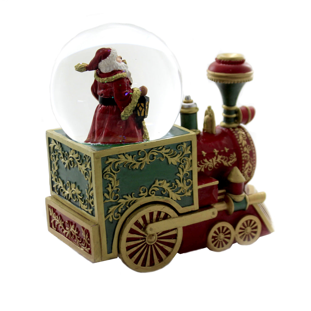 Christmas SANTA W/TRAIN ENGINE WATERBALL Polyresin Glitterdome Musical 132889