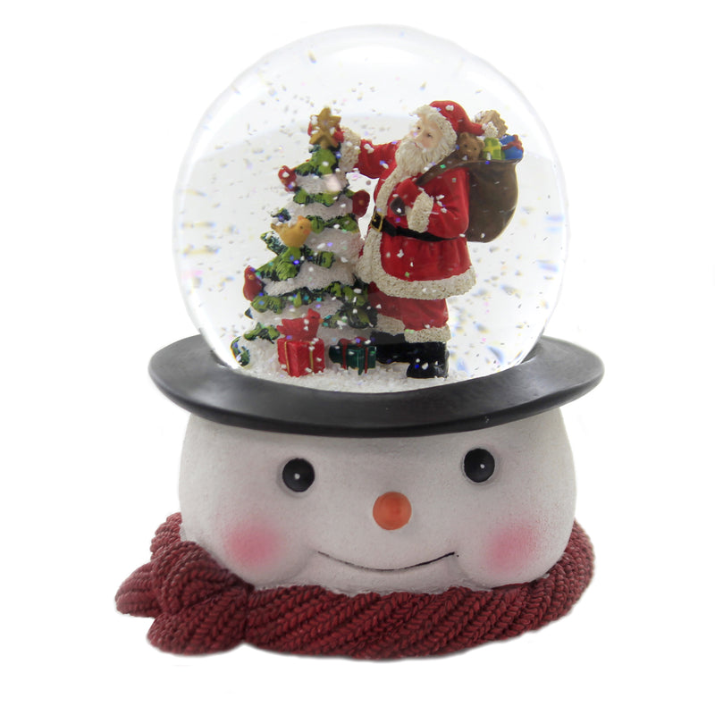Christmas SANTA W/ TREE ON SNOWMAN BASE Musical Glitterdome Waterball 132517