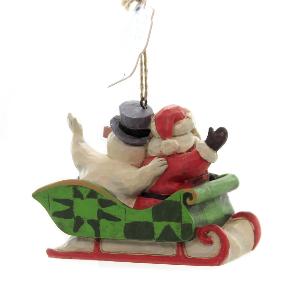 Jim Shore SANTA & FROSTY IN SLEIGH Polyresin Ornament 6004159
