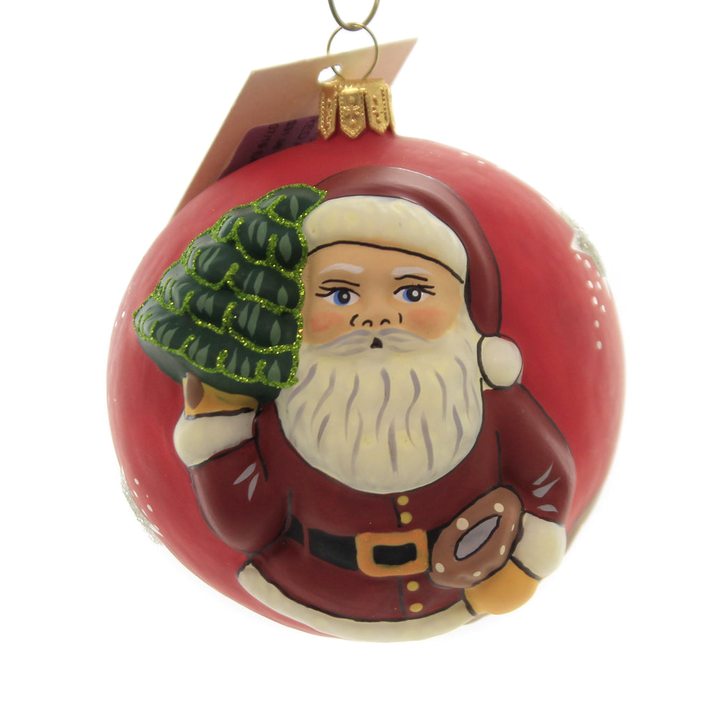 Holiday Ornaments RED AMERICAN SANTA W/TREE Vaillancourt Jingle Ball Or19512