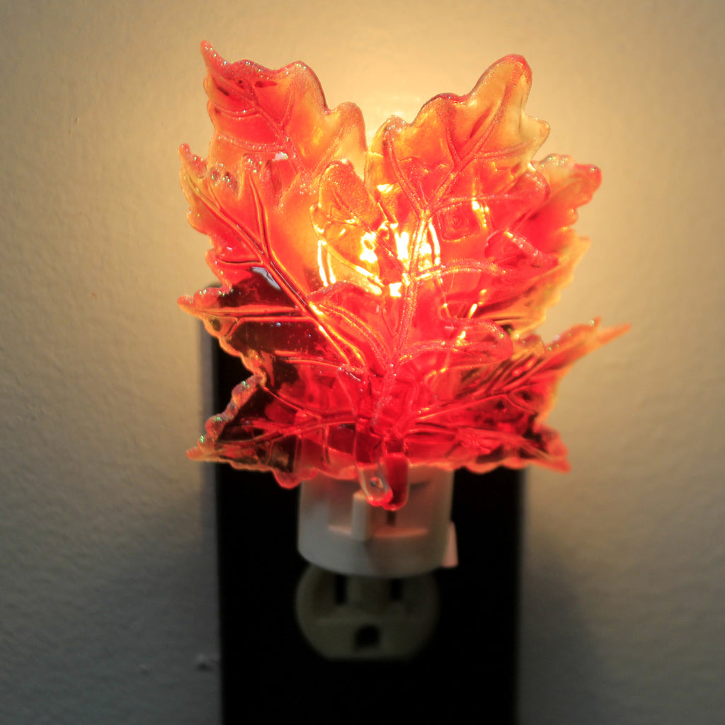 Home Decor MAPLE LEAF NIGHT LIGHT Acrylic Autumn Thanksgiving Fall 167554