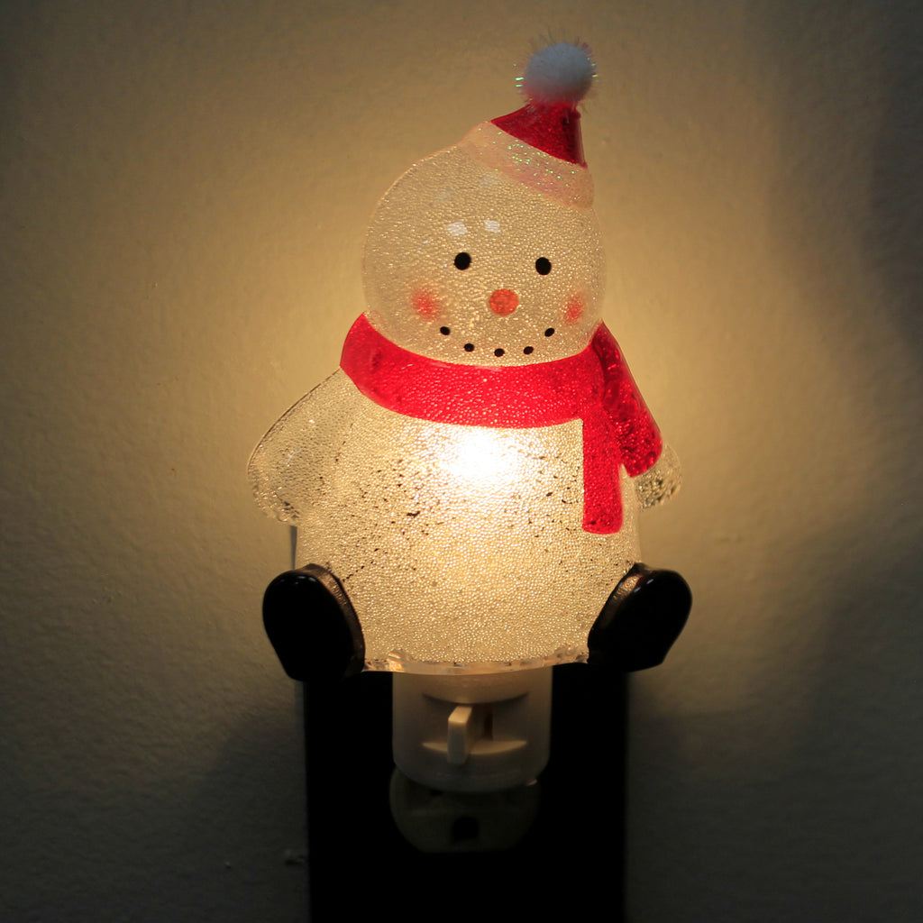 Christmas SNOWMAN NIGHT LIGHT Acrylic Holiday Jolly 140830