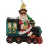 Noble Gems SANTA ON TRAIN Glass Ornament Locomotive Claus Nb1494