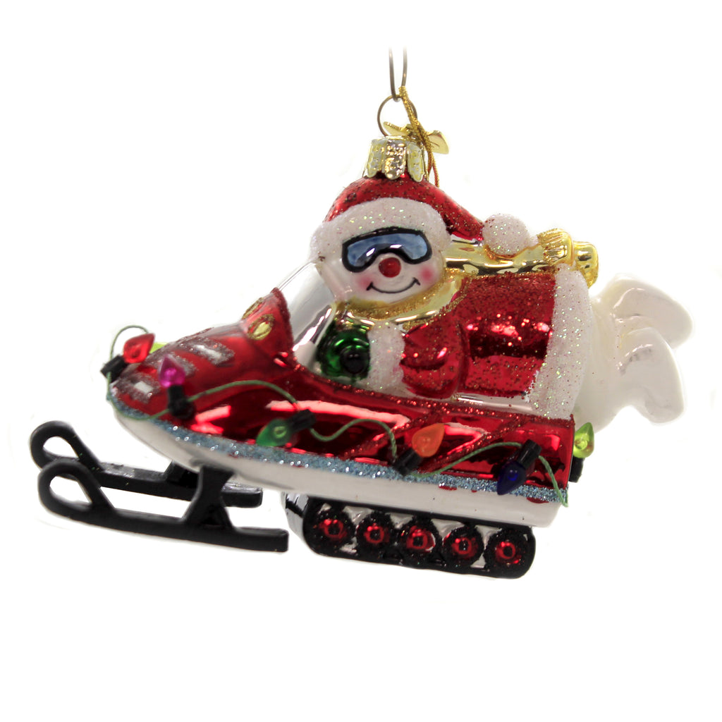 Noble Gems SNOWMAN ON SNOWMOBILE Glass Ornament Snow Fun Googles Nb1443