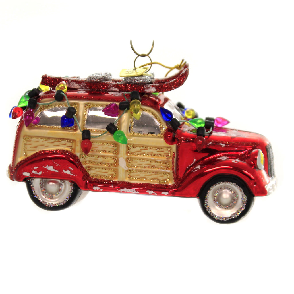 Noble Gems WOODY CAR W/ LIGHTS Glass Ornament Griswold Decorated Nb1409