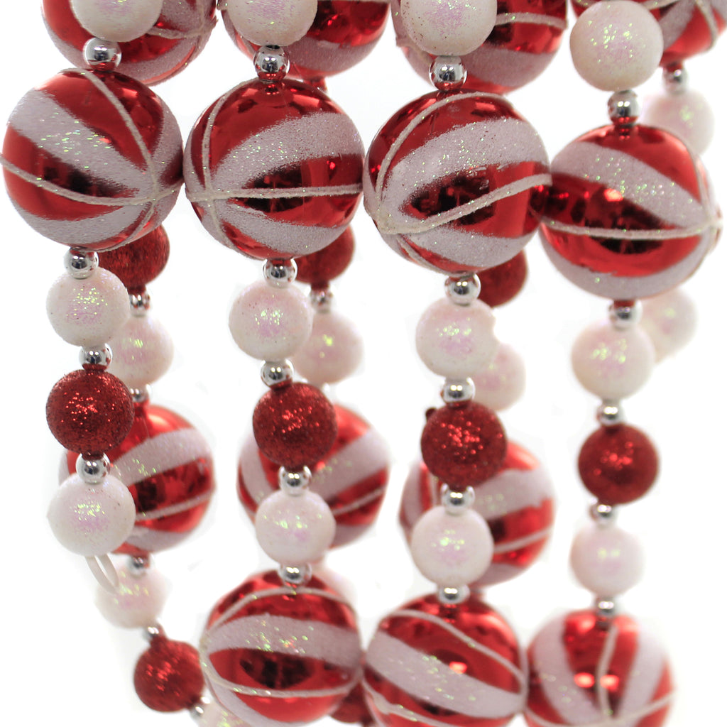 Christmas GLITTERED CANDY BALL GARLAND Plastic Tree Trimming H9563