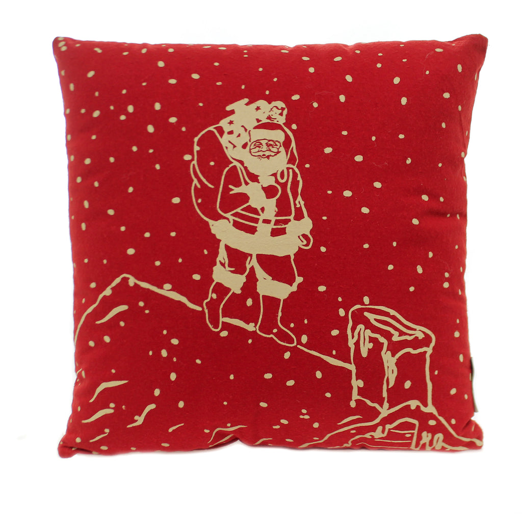 Christmas HO HO HO PILLOW Fabric Santa Rooftop 102422