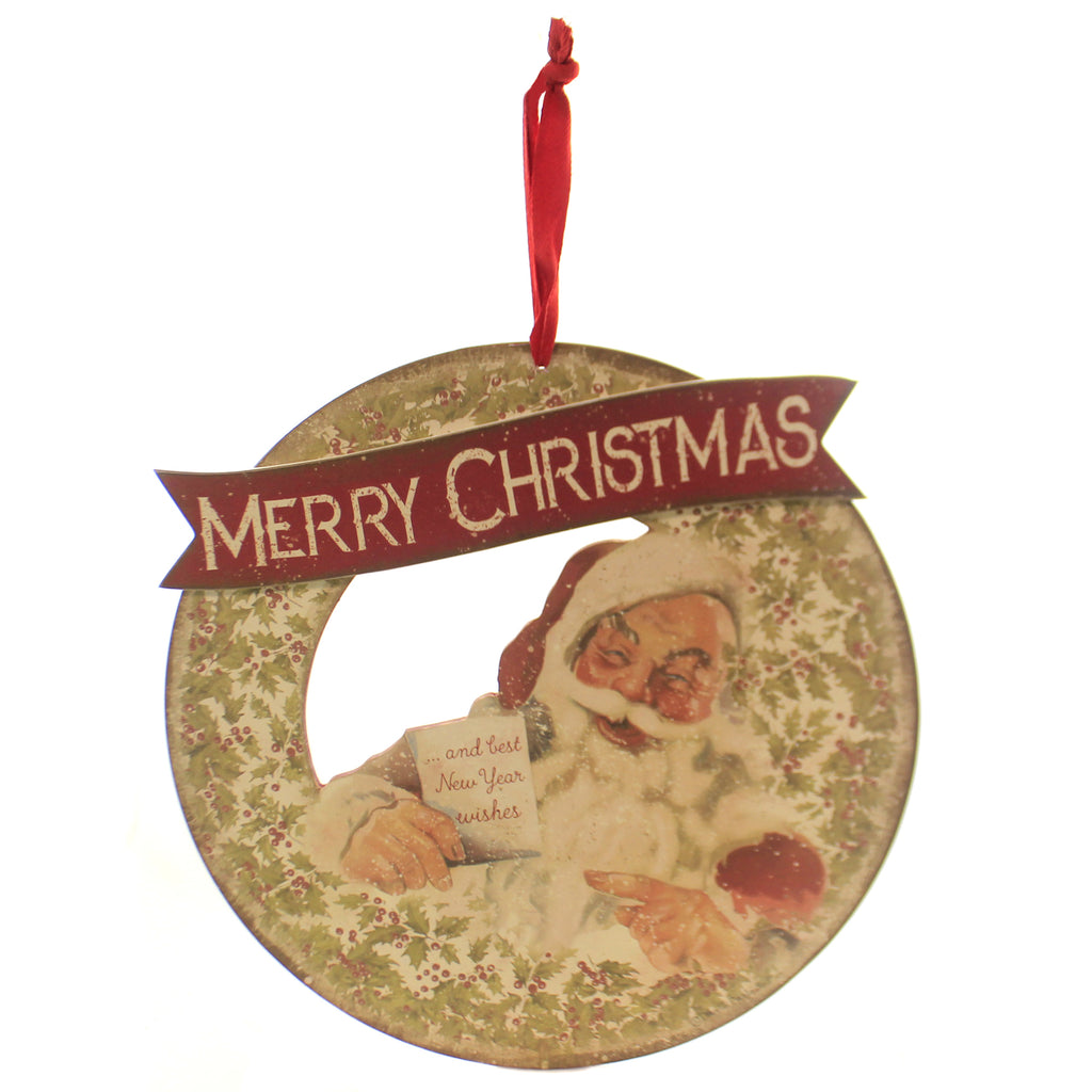 Christmas WREATH MERRY CHRISTMAS. Wood Holly Santa Claus 100839