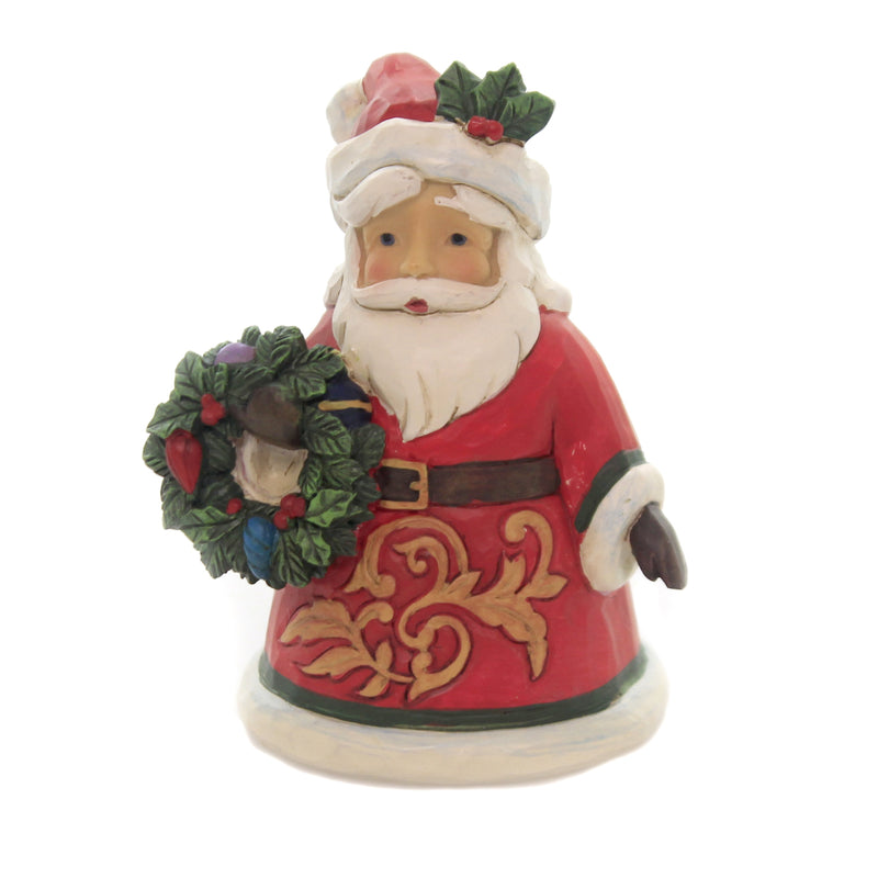 Jim Shore MINI SANTA HOLDING WREATH Polyresin Christmas Heartwood Creek 6004298