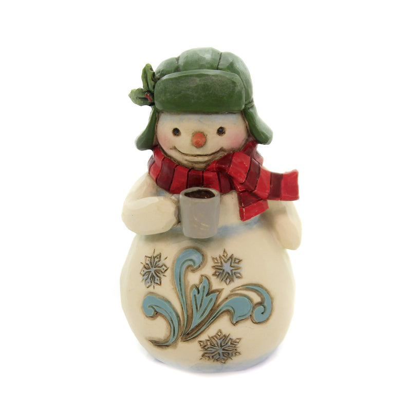 Jim Shore MINI SNOWMAN WITH COCOA Polyresin Christmas 6004294