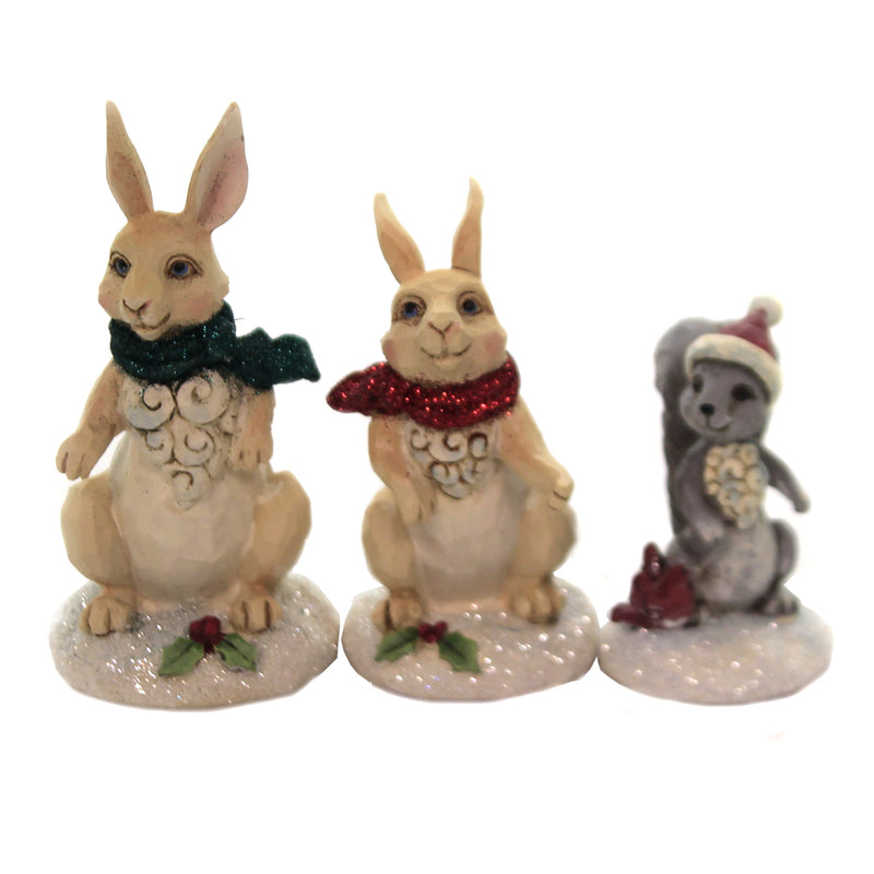 Jim Shore MINI ANIMAL WINTER WONDERLAND SET Polyresin Christmas 6004989