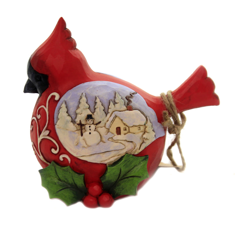 Jim Shore WINTER JOYS Polyresin Cardinal With Scene 6004293