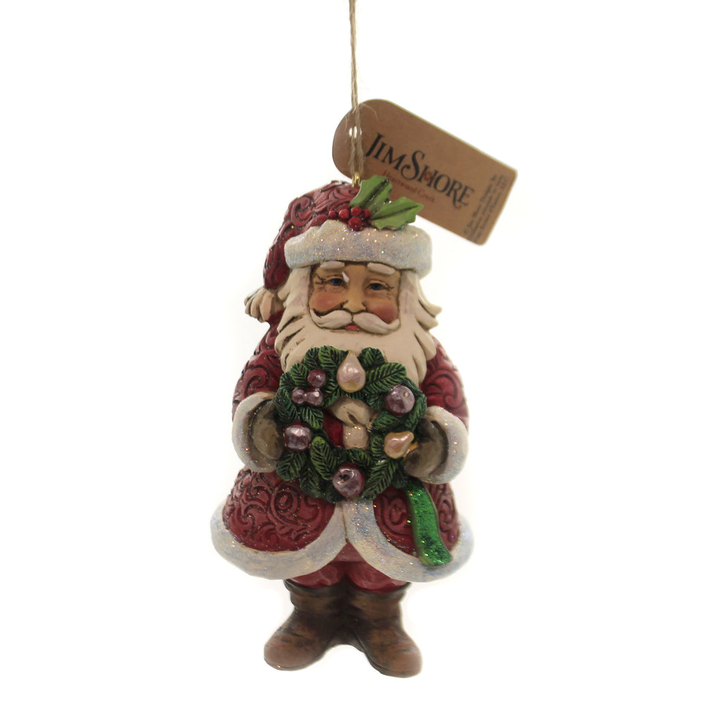 Jim Shore WINTER WONDERLAND SANTA W/WREATH Polyresin Ornament 6004193