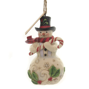 Jim Shore SNOWMAN WITH CANDY CANE Polyresin Ornament 6004312