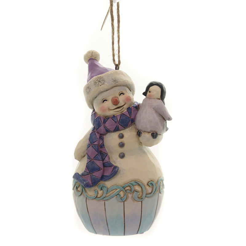 Jim Shore SNOWMAN WITH BABY PENGUIN Polyresin Ornament 6004314