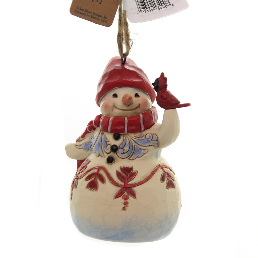 Jim Shore RED & WHITE SNOWMAN MINI Polyresin Ornament 6004315
