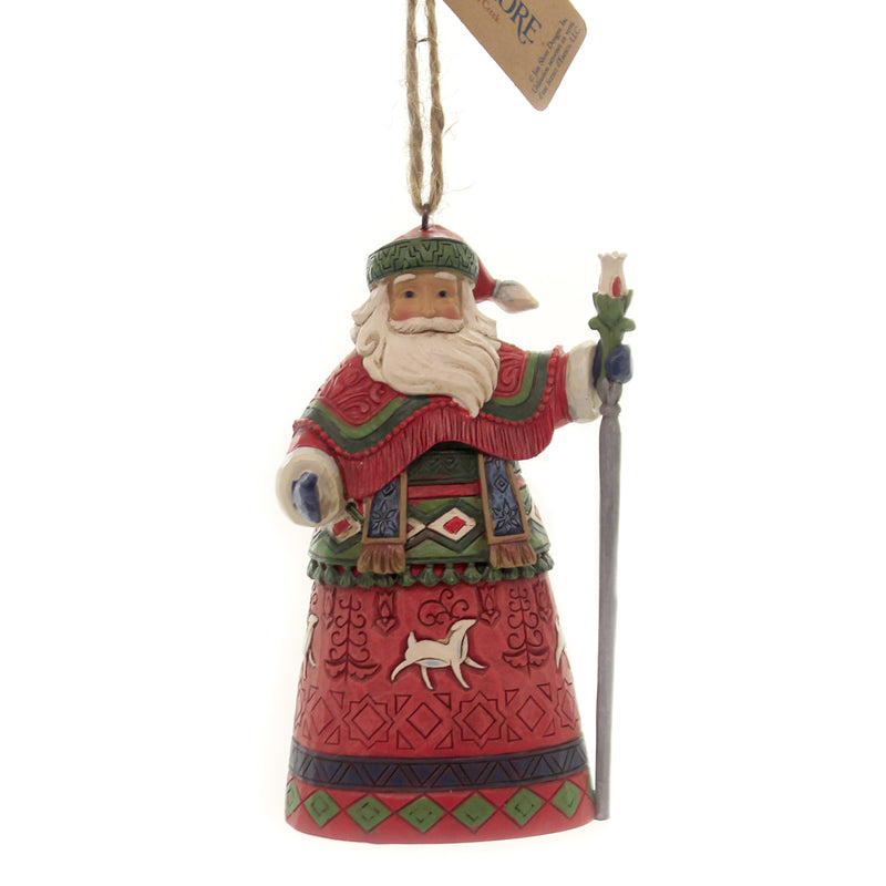 Jim Shore LAPLAND SANTA WITH STAFF Polyresin Ornament Christmas Deer 6004301