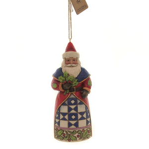 Jim Shore SANTA WITH HOLLY Polyresin Ornament Christmas 6004306