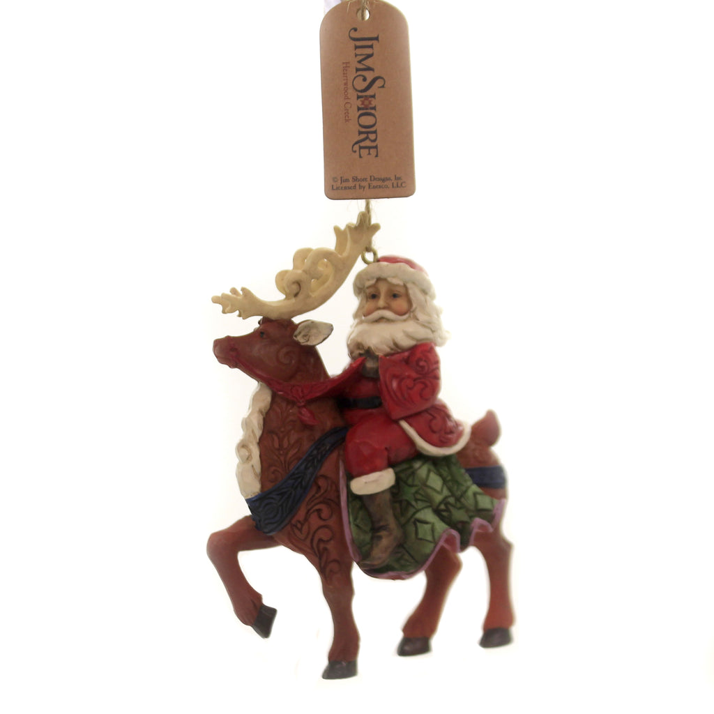 Jim Shore SANTA RIDING REINDEER Polyresin Christmas Ornament 6004305