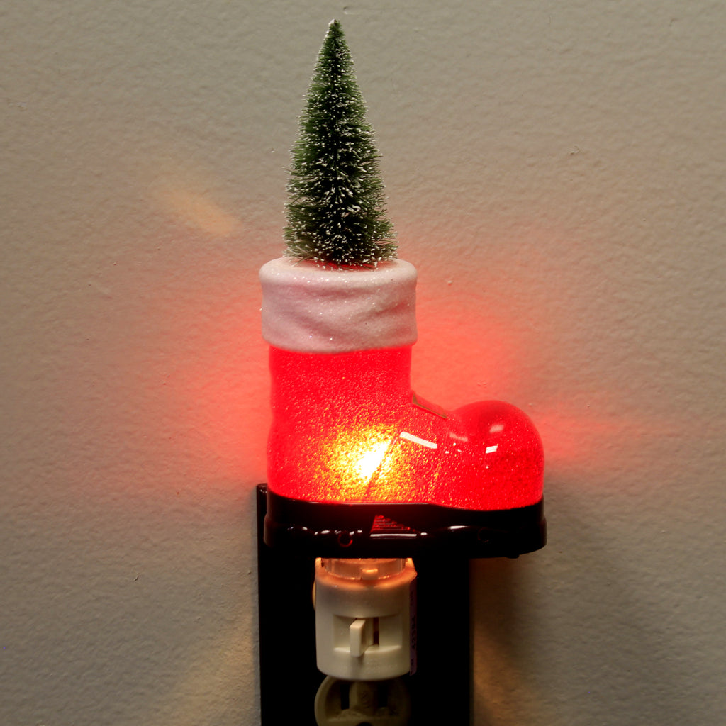 Christmas SANTA'S BOOT NIGHT LIGHT Plastic Tree Electric Plug-In 160186