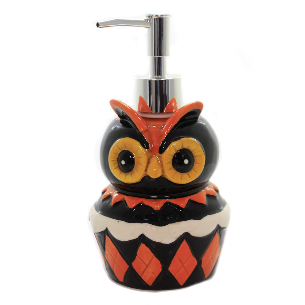 Tabletop OWL SOAP DISPENSER Ceramic Halloween Bird J9688