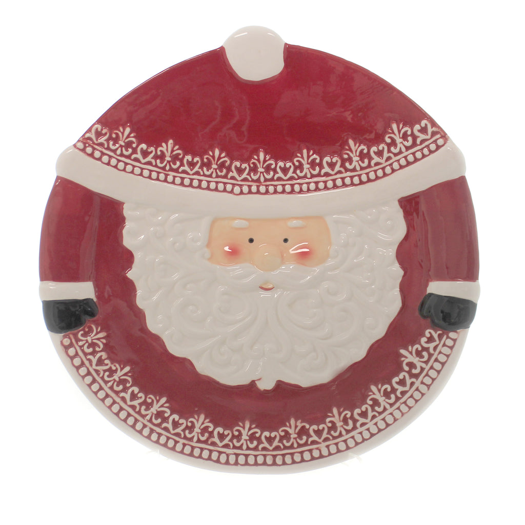 Tabletop SANTA PLATTER. Ceramic Serving Christmas Y1355