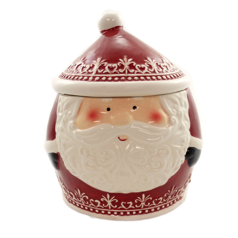 Tabletop NORDIC SANTA COOKIE JAR Ceramic Baked Treats Christmas Y2883