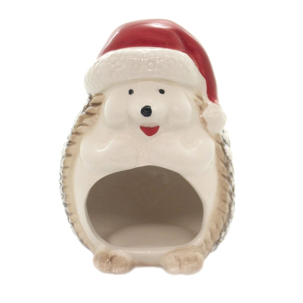 Tabletop HEDGEHOG SPONGE HOLDER Ceramic Christmas Santa Hat Y5497