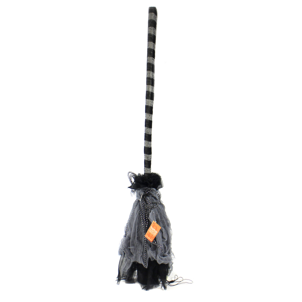 Halloween ANIMATED STANDING BROOM Fabric Witches Spooky Sounds 9733569