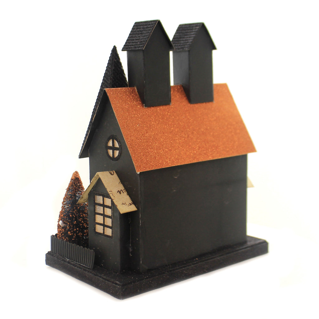 Halloween HAUNTED PUTZ CARDBOARD HOUSE Paper Battery Operated Spooky Fgh73615