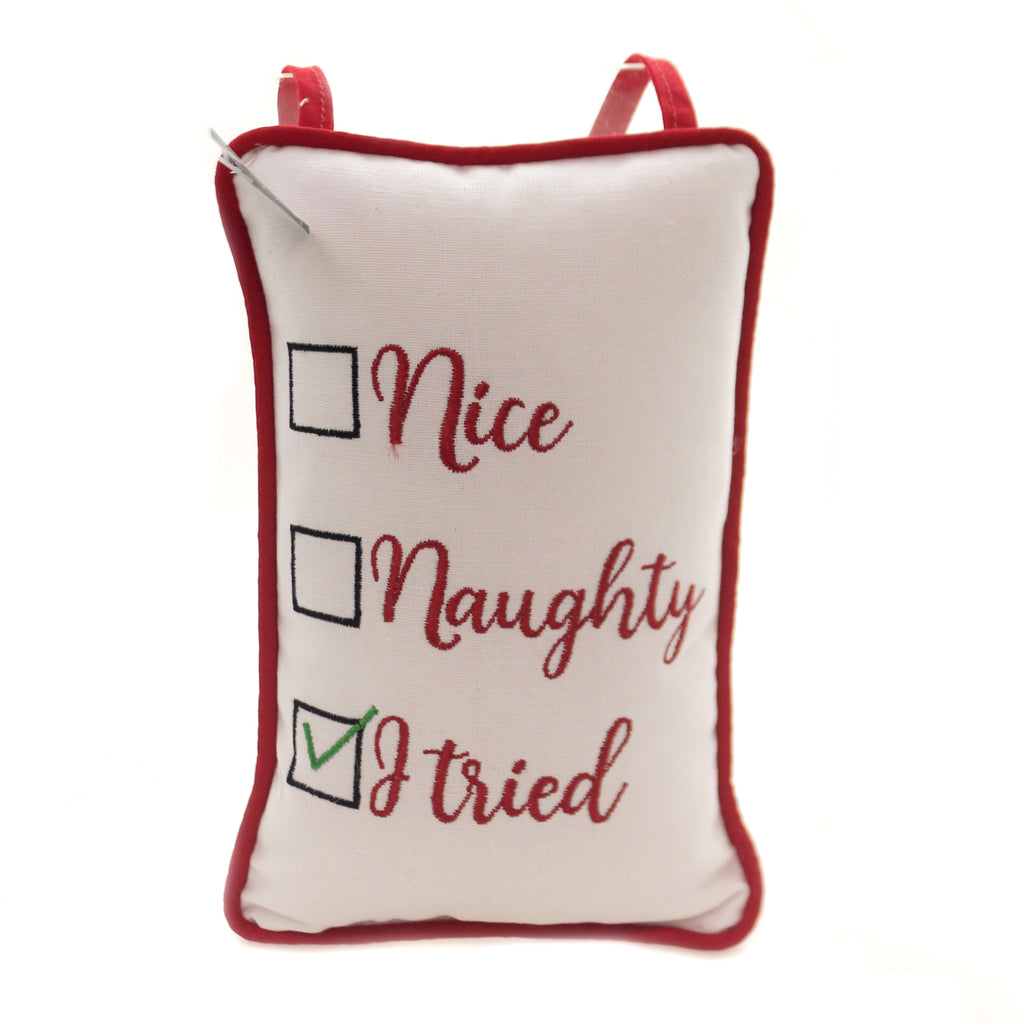 Christmas I TRIED DOOR KNOB PILLOW Fabric Nice Naughty 8121684